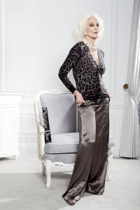 """New York © Elizabeth Lippman  07-26-12  for The New York Post's ALEXA supplement The World's Oldest Working Supermodel Carmen Dell'Orefice, photographed for a """"50 Shades of Grey"""" fashion story, in the Dior Suite at the St. Regis Hotel."""