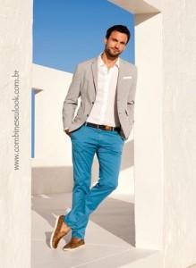 LOOK CASUAL BEGE calça azul Logo Site
