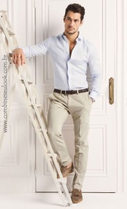 LOOK CASUAL CALÇA SARJA David Gandy