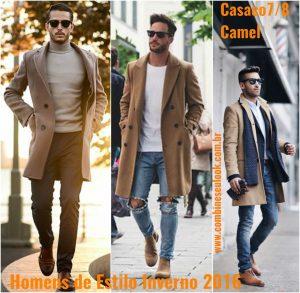 ESTILO INVERNO MASCULINO 2016 Casaco 7-8 Camel